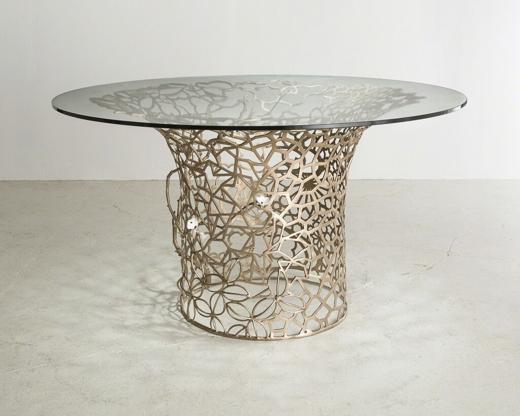 Unique Collage Column table in bronze with porcelain Cherry blossoms and glass top
