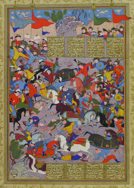 Giv Charges into Battle against Piran, folio 185a from the Peck Shahnama