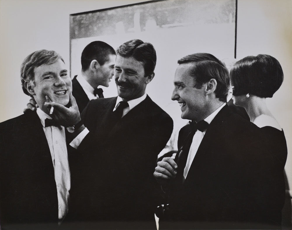 Andy Warhol, Irving Blum, Billy Al Bengston and Dennis Hopper, at the Opening Reception, Duchamp Retrospective, Pasadena art Museum,