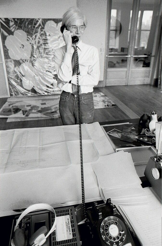 AW on the Phone at Factory, NYC 1981