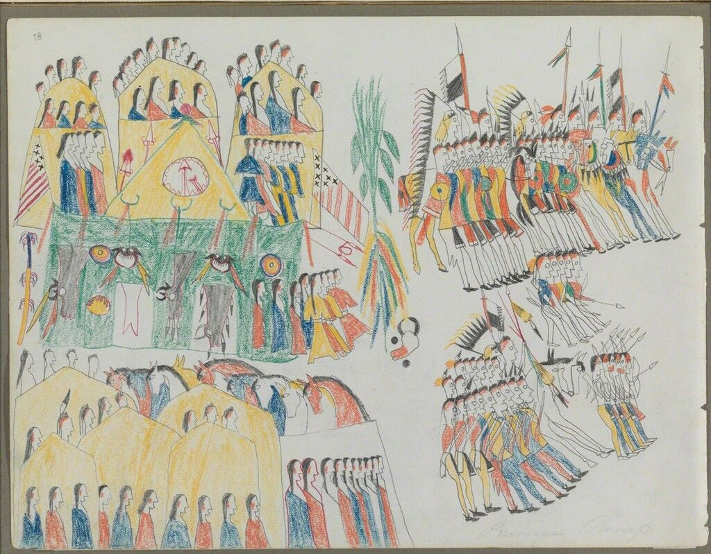 "Ledger Drawing, ""Fort Sill Pawnee Village"""