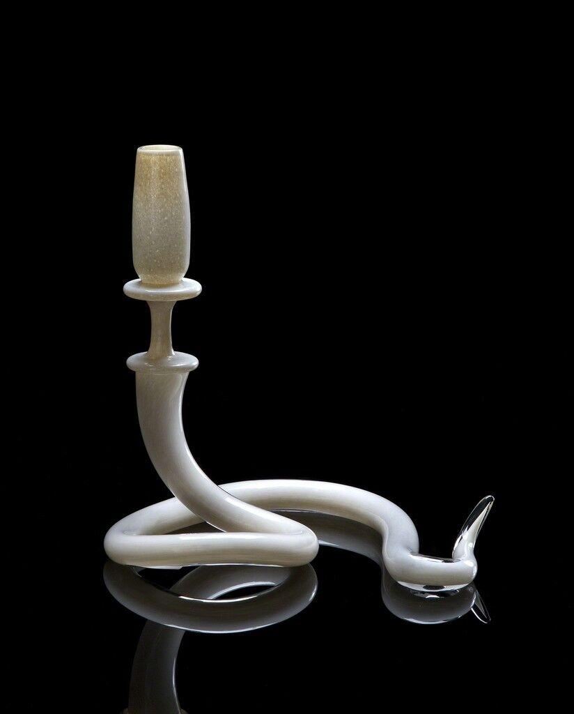 Unique single serpentine light sculpture in alabaster hand- blown glass