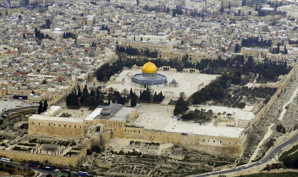 Aerial view of Haram Al-Sharif (Temple Mount) with Dome of the Rock