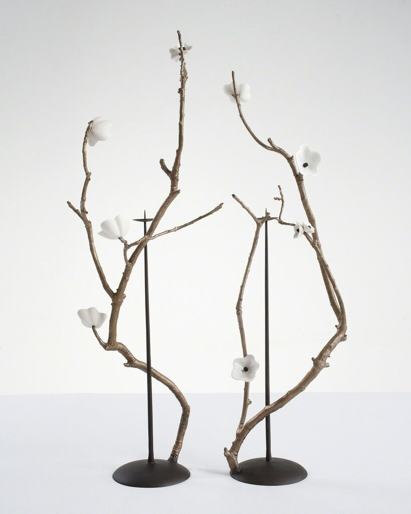 Pair of unique Cherry Blossom Branch candlesticks in bronze with porcelain blossoms