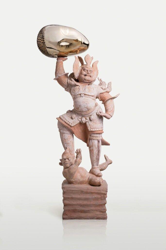 Eternity-Painted Terracotta Statue of Heavenly Guardian, Sleeping Muse