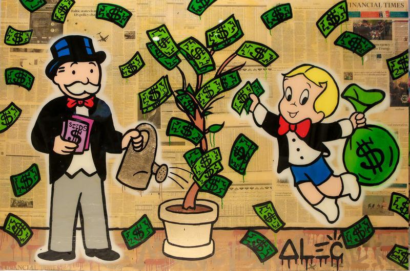 Richie Picking Monopoly Watering $ Tree