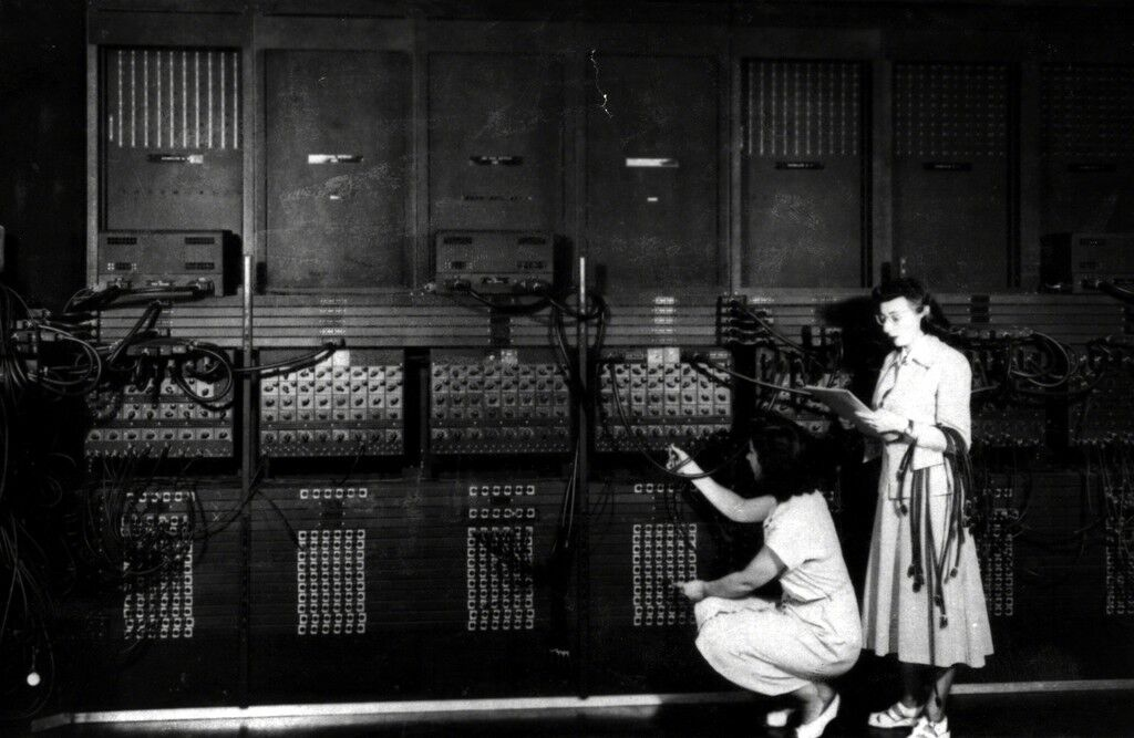 Two Women Wiring the Right Side of the ENIAC with a New Program