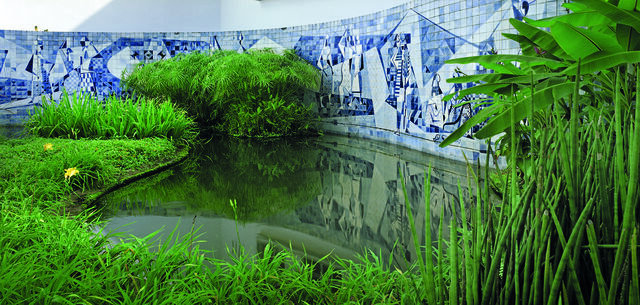 Azulejo Tile Wall and Plantings