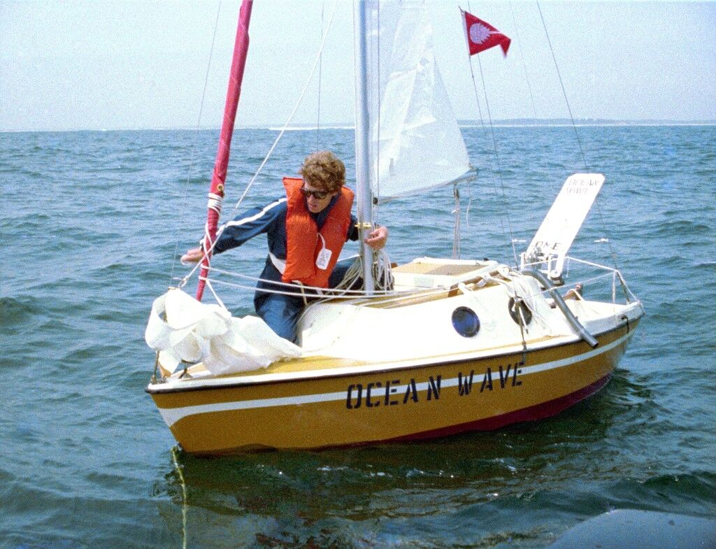 """Bas Jan Ader aboard """"Ocean Wave"""" about to set sail July 9, 1975"""