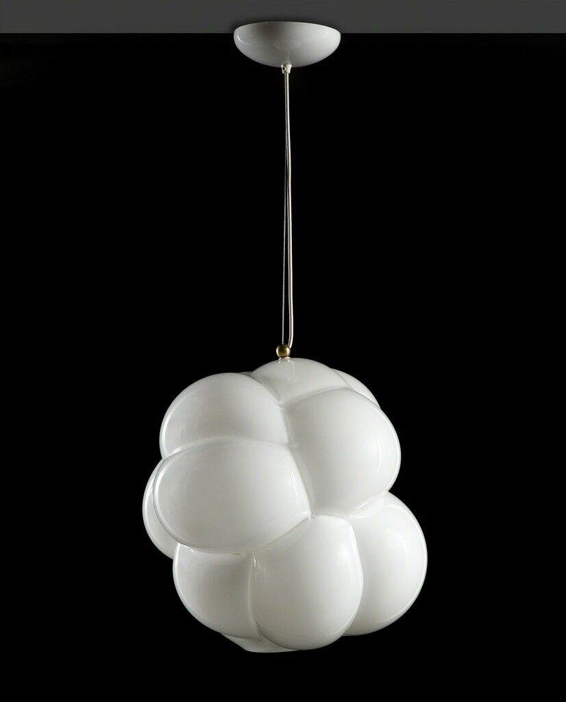 "Unique ""biomorphic bubble"" hanging illuminat- ed sculpture in opaque white hand-blown glass"