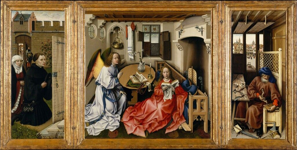Mérode Altarpiece, Triptych of the Annunciation (open)