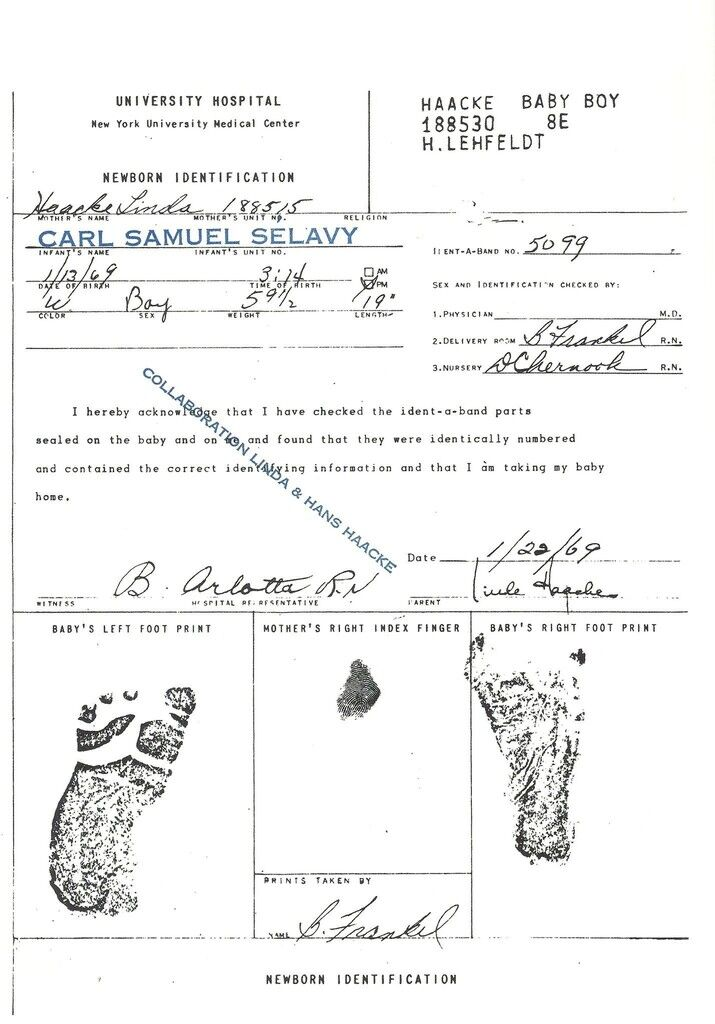 Birth Certificate of My Son (collaboration Linda & Hans Haacke)