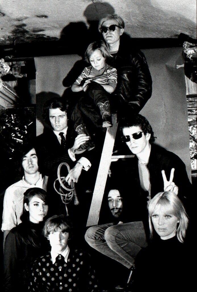 Andy Warhol, Nico's son Ari, Lou Reed, Nico, John Cale, Maureen Tucker, Mary Woronov, Sterling Morrison, and Gerard Malanga