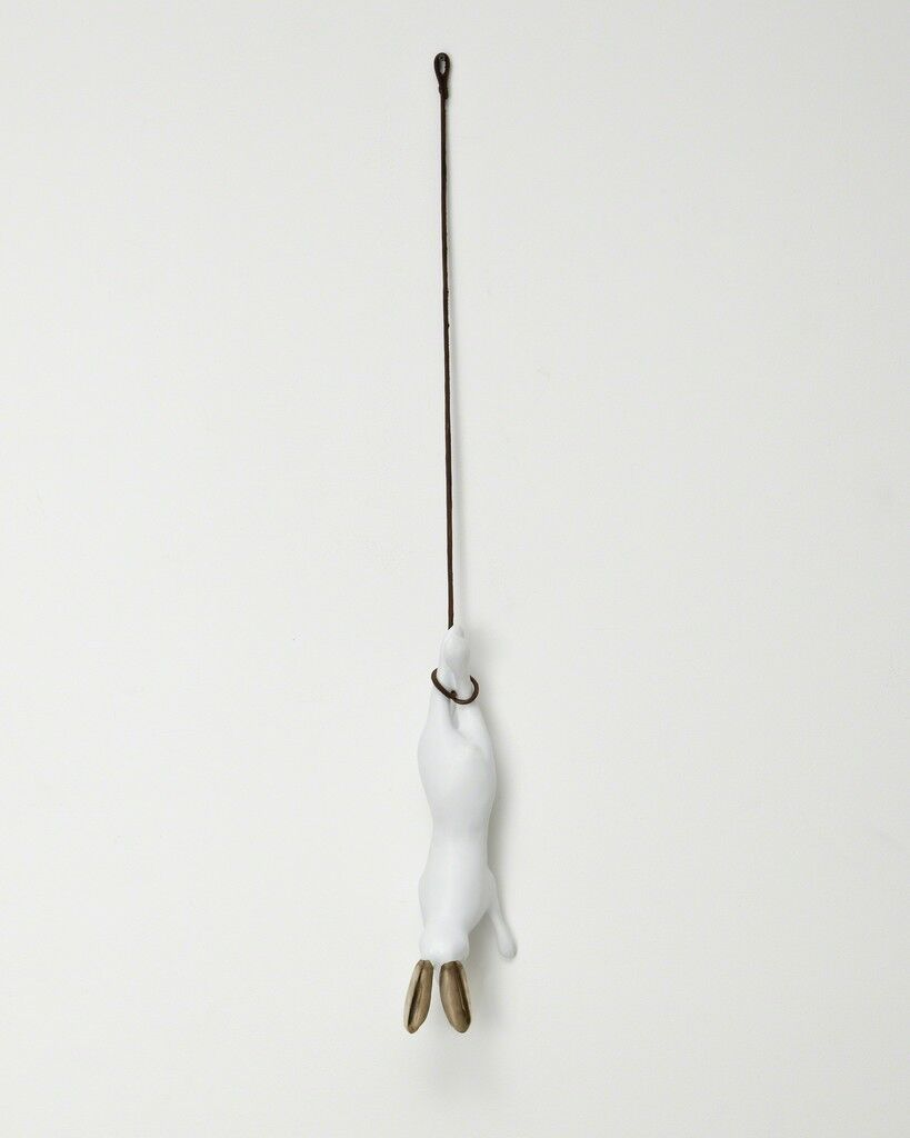 """Unique hanging """"Hare"""" in porcelain and bronze, with a bronze branch and leather rope"""