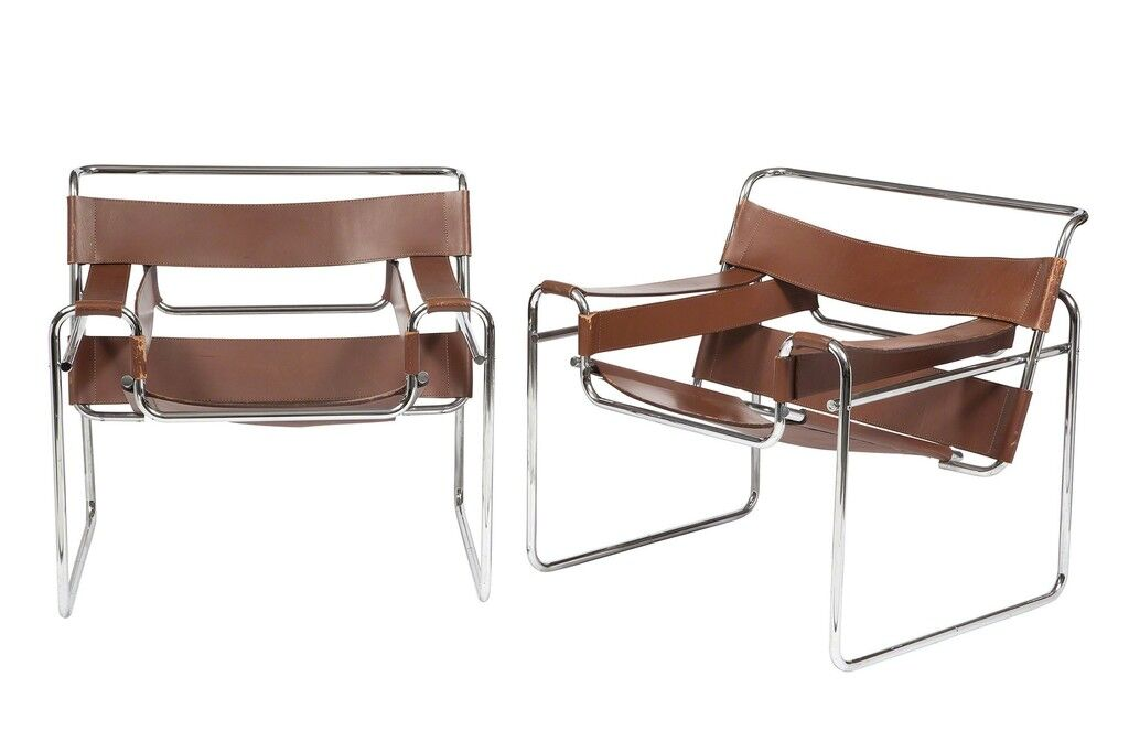 Pair of Marcel Breuer Chromed Tubular Steel and Leather Wassily Chairs