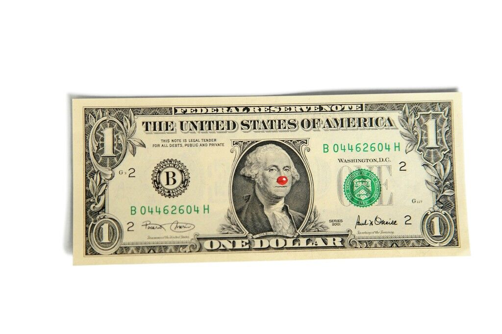 One Dollar Bill with Red Nose