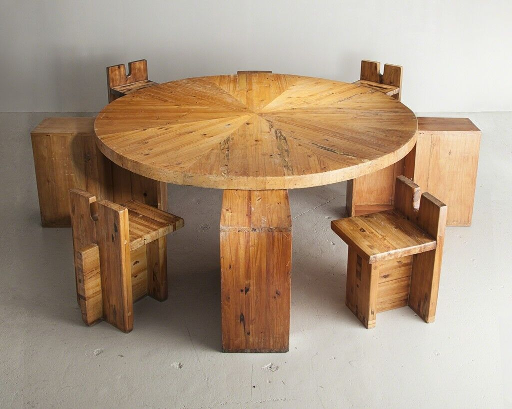 Large dining table in pine designed by Lina Bo Bardi, Marcelo Ferraz and Marcelo Suzuki for the SESC-Pompéia Center, Sao Paulo, Brazil, 1980s.