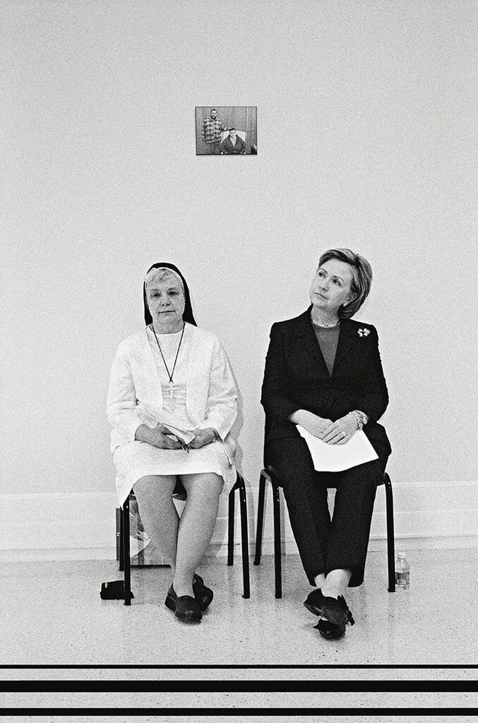 Senator Hillary Clinton with Felician Nun Sister Johnice, New York