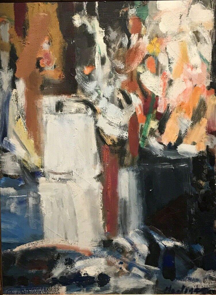 Coffee Pot and Gladiolas