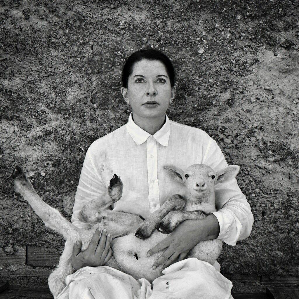 Portrait with Lamb (white)