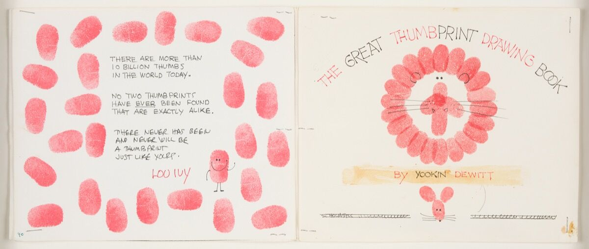 Ed Emberley, The Great Thumbprint Drawing Book, mockup page of the cover, 1977. Courtesy of the artist.