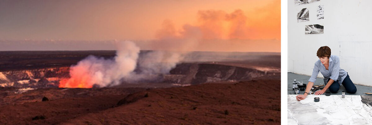 Left: Kilauea caldera at full smoke. Right: Artist Emma Stibbon. Courtesy of National Parks Art Foundation.