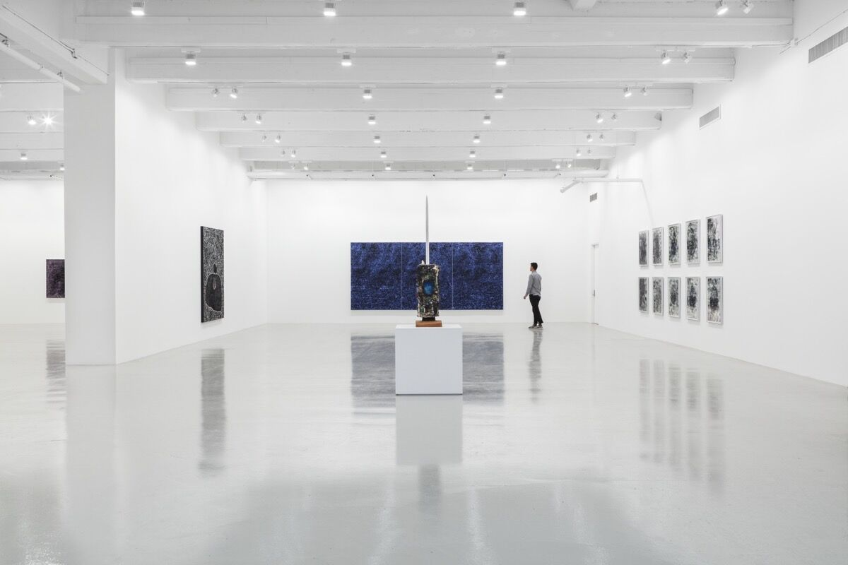 "Installation view of ""Jack Whitten"" at Hauser & Wirth, New York, 2017. © Jack Whitten. Photo by Timothy Doyon, courtesy of the artist and Hauser & Wirth."