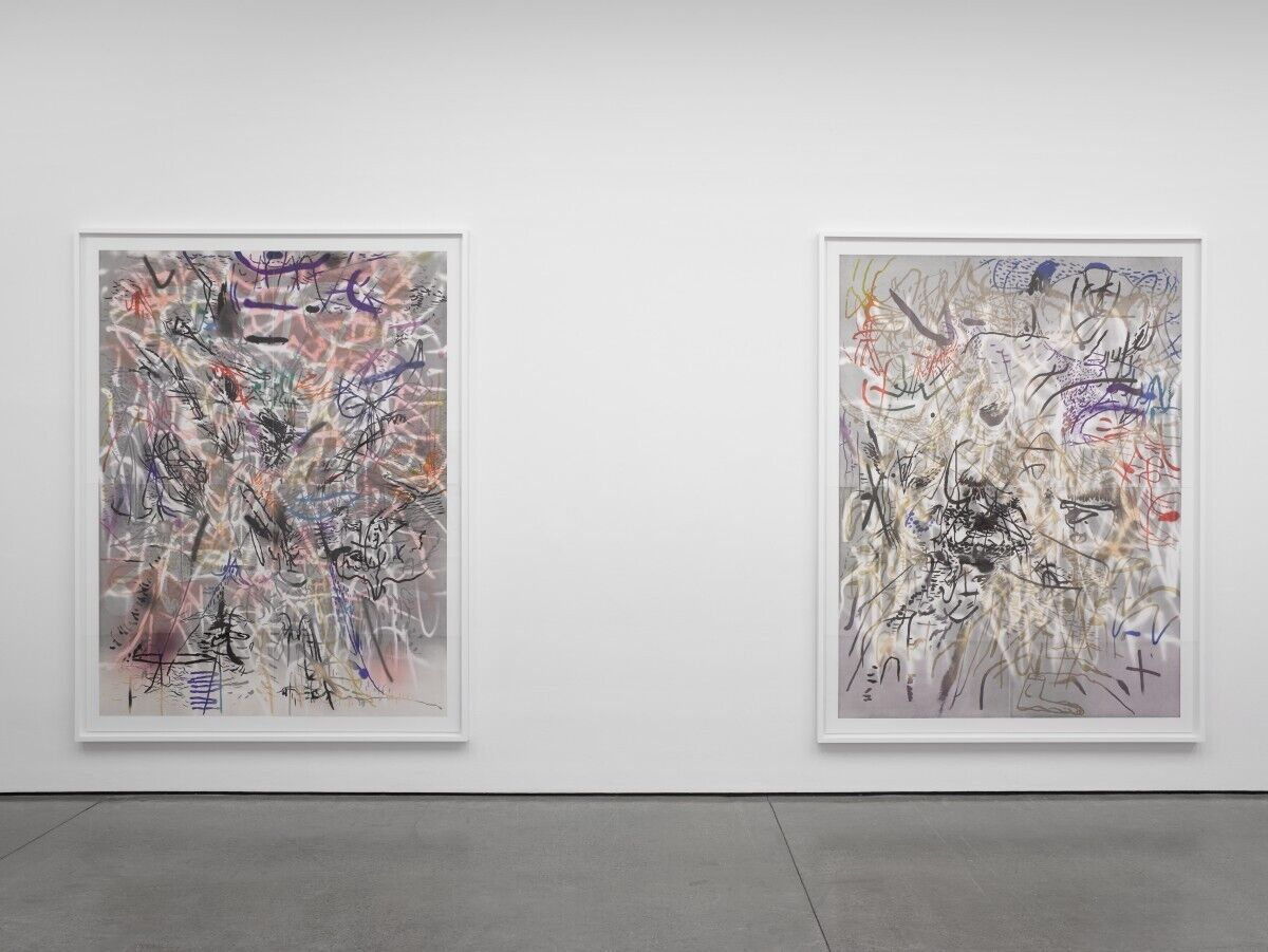 Julie Mehretu, installation view, from left to right, of Six Bardos: Transmigration and Six Bardos: Luminous Appearance, both 2018. © 2018 Gemini G.E.L. LLC. Courtesy of the artist and Gemini G.E.L.