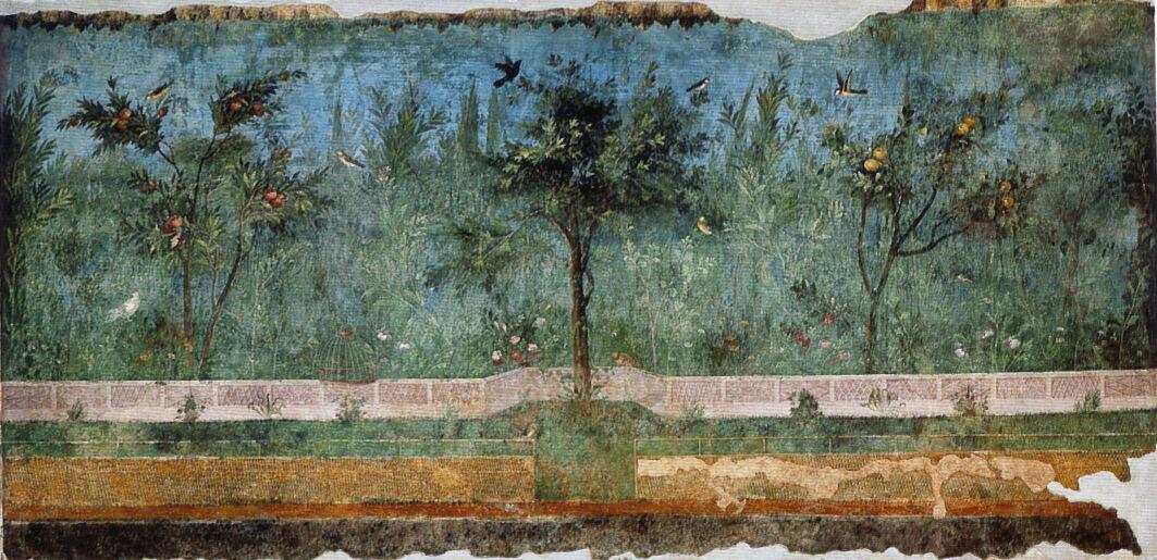 Pintura al fresco de la Villa de Livia, imagen del siglo I a. C. a través de Wikimedia Commons.