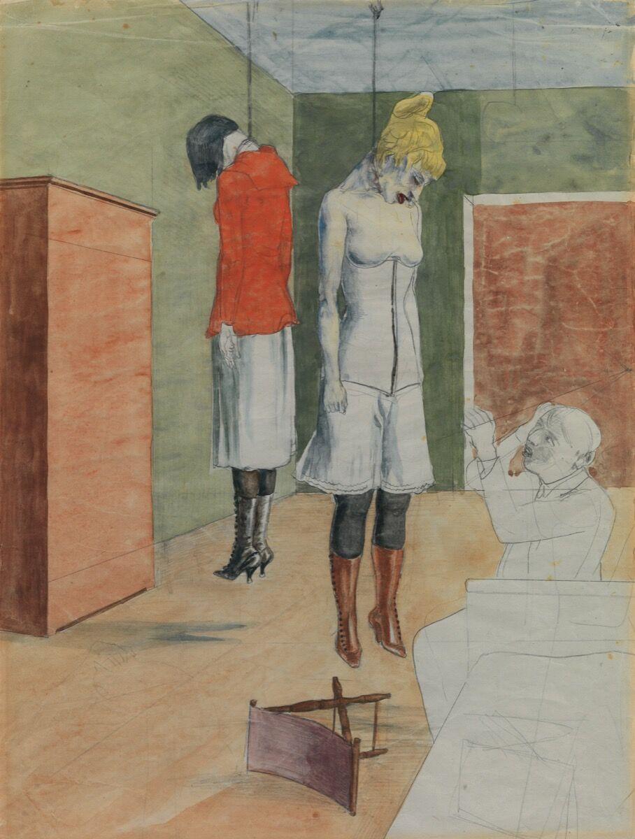 Rudolf Schlichter, The Artist with Two Hanged Women, 1924. © Viola Roehr v, Alvenslben, Muenchen. Courtesy of Tate.