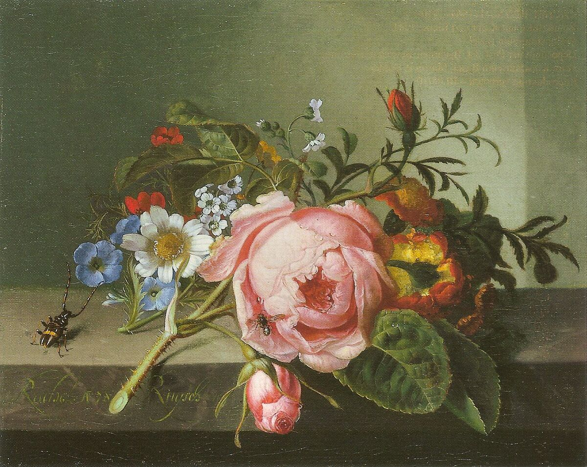 Rachel Ruysch, Still Life with Rose Branch, Beetle and Bee, 1741. Courtesy of Kunstmuseum Basel.