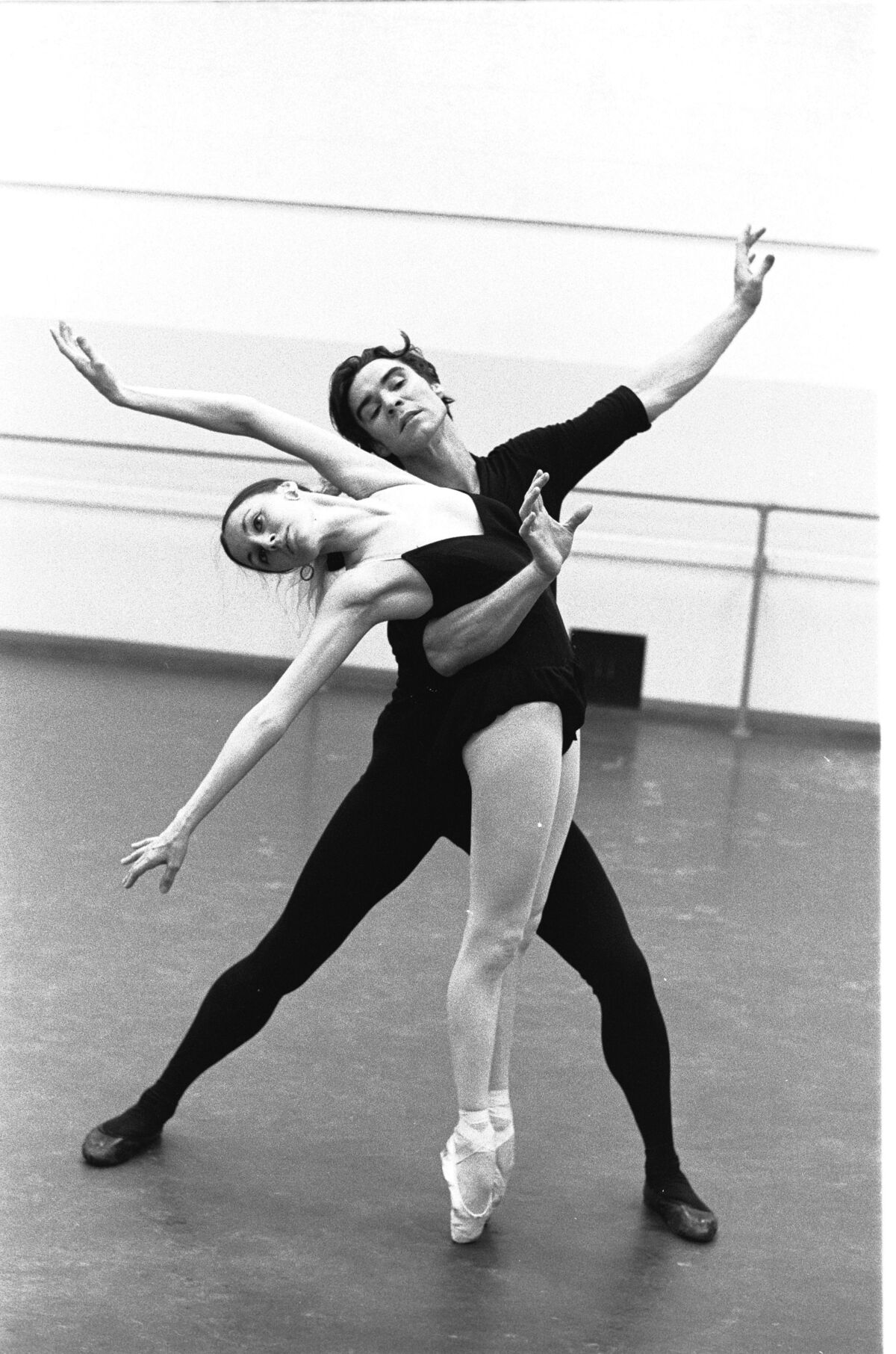 "Martha Swope, New York City Ballet rehearsal of ""Who Cares?"" with Patricia McBride and Jacques d'Amboise, 1970. © New York Public Library."