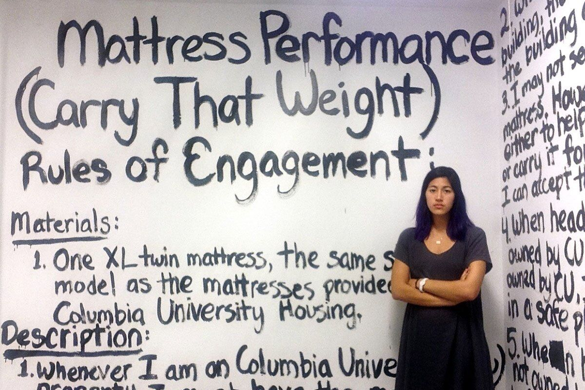 "Emma Sulkowicz, ""Mattress Performance rules of engagement."" Courtesy of Art in America. Licensed under CC BY 4.0 via Commons."