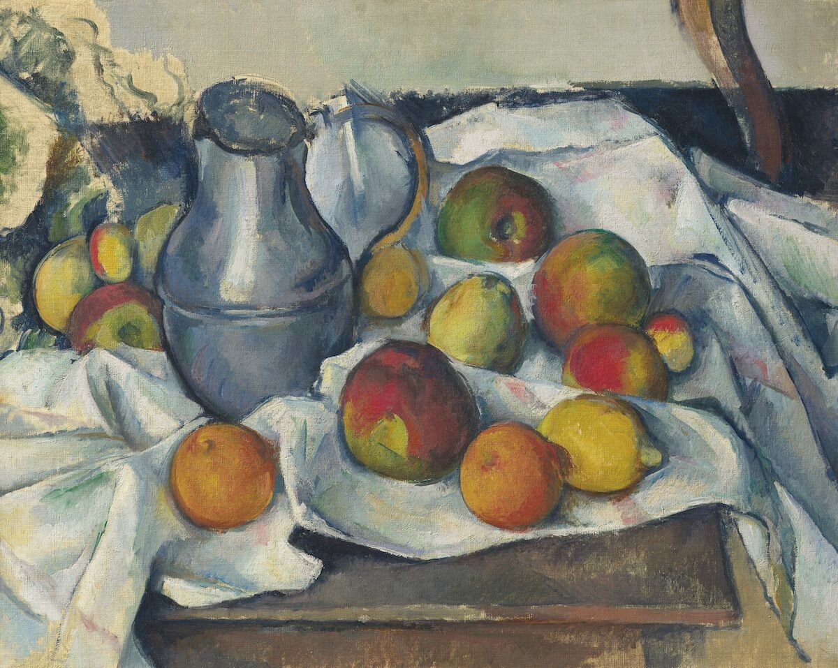 Paul Cézanne, Bouilloire et fruits, 1888–90, oil on canvas. Est. in the region of $40 Million. Courtesy Christie's Images Ltd. 2019.