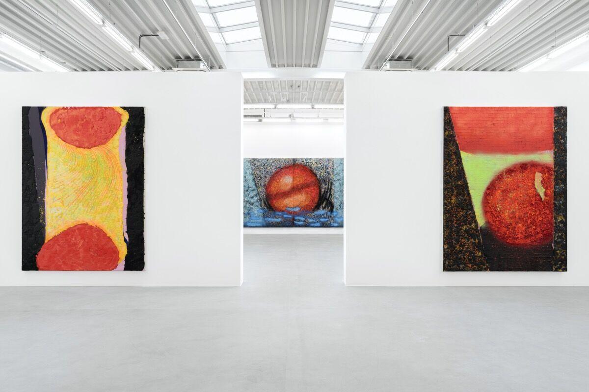 "Vaughn Spann, installation view of ""Smoke Signals"" at Almine Rech, Brussels, 2020. © Vaughn Spann. Photo by Hugard & Vanoverschelde. Courtesy of the artist and Almine Rech."