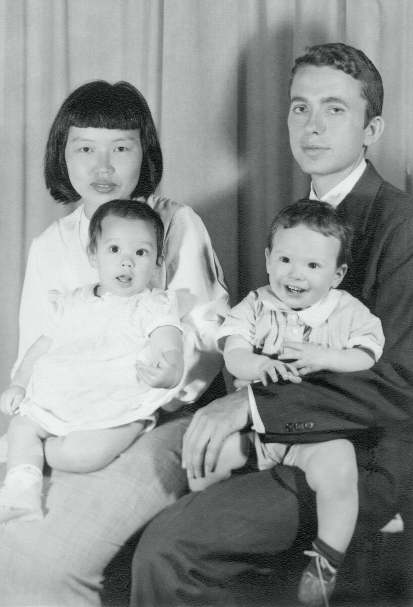 Portrait of Ruth Asawa and Albert Lanier holding Aiko and Xavier, 1951. Courtesy of Estate of Ruth Asawa.