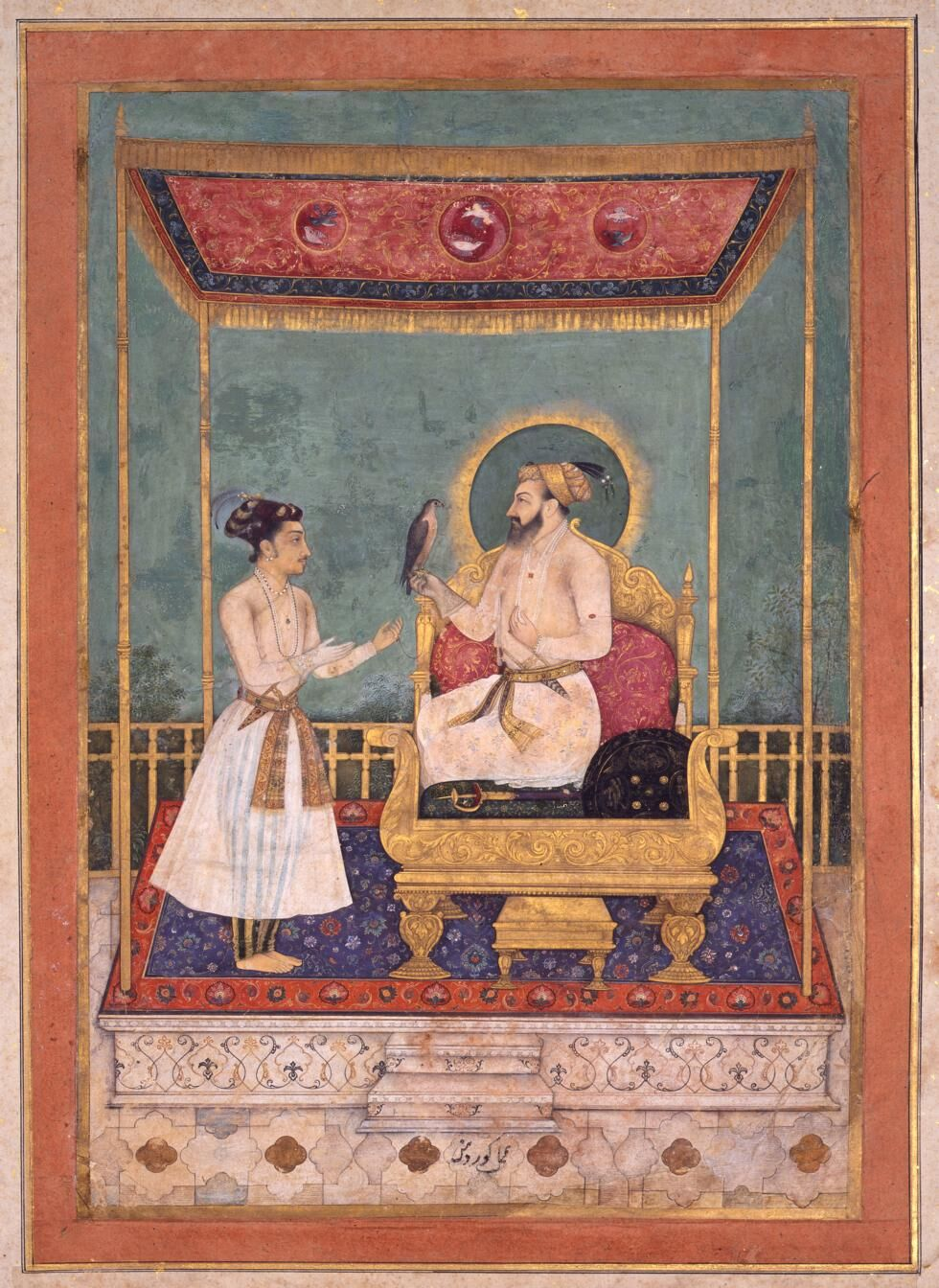 Govardhan, Shah Jahan accepts a falcon from Dara Shikoh, 1630. Courtesy of the San Diego Museum of Art/Bridgeman Images and the J. Paul Getty Museum, Los Angeles.