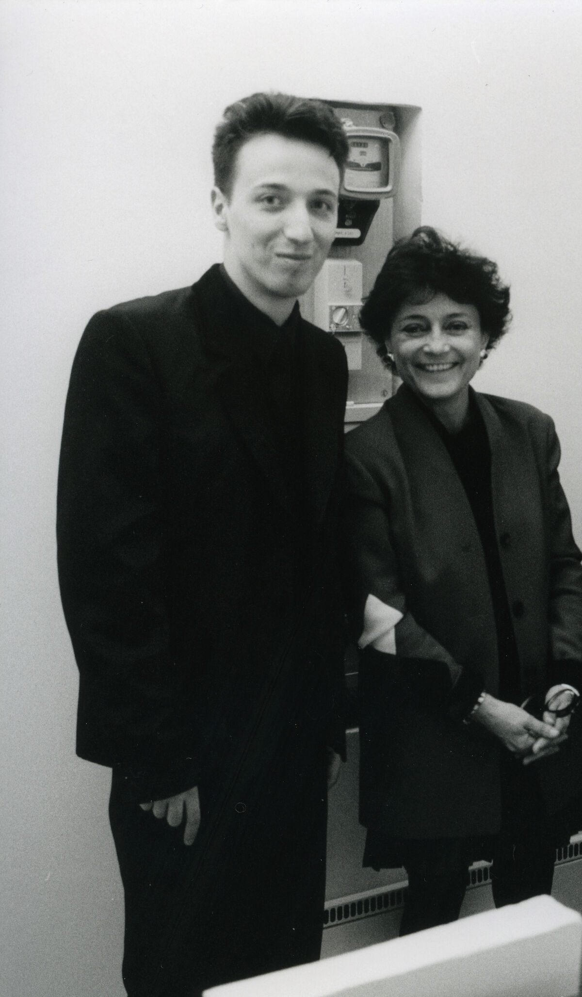Emmanuel Perrotin with Marie-Hélène Montenay in the gallery space rue de l'Ancienne Comédie in 1992. Courtesy of Perrotin.