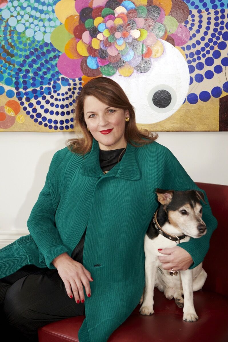 Portrait of Catherine Petitgas with her dog Marcel. Photo by Benedikt Frank. Courtesy of Catherine Petitgas.