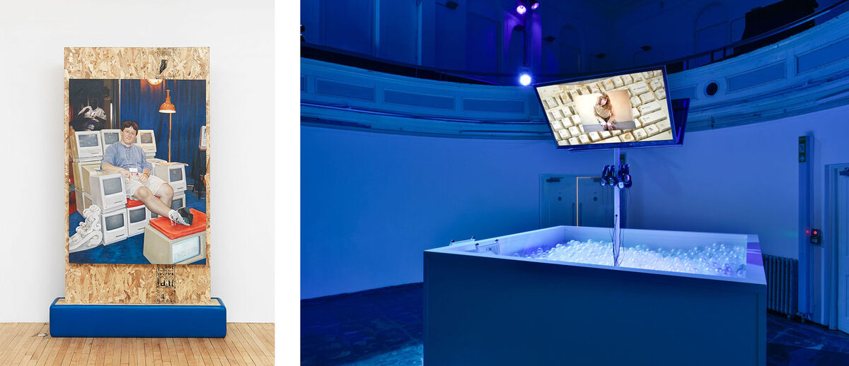 Left: Jon Rafman, Altar, 2015. Photo courtesy of Feuer/Mesler. Right:Installation view of Jon Rafman at Zabludowicz Collection, London, 2015. Photo by Thierry Bal, courtesy of Zabludowicz Collection.