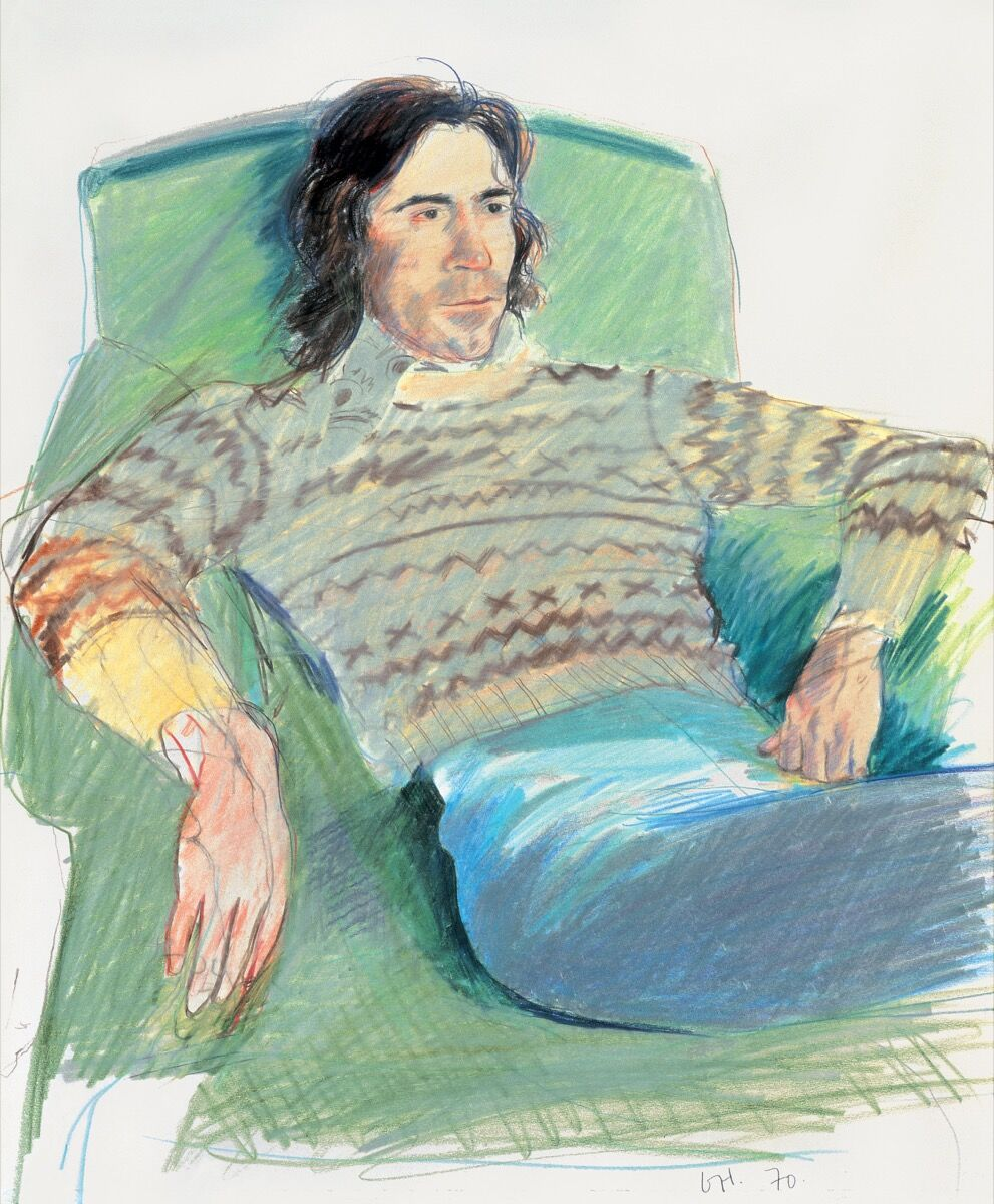 David Hockney,Ossie Wearing a Fairisle Sweater, 1970. Private collection. © David Hockney. Image courtesy of Tate.