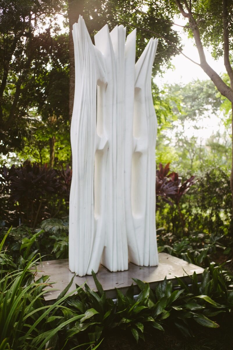 Pablo Atchugarry, Free Spirit, 2011, installed at Jorge M. Perez's Miami home. Photo by Gesi Schilling for Artsy.