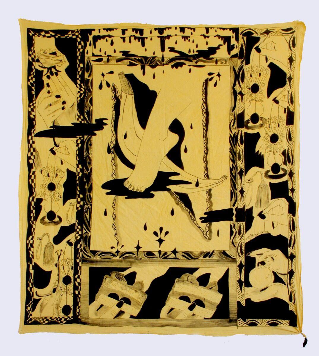 """Jamie Felton, Blanket 3 """"Foot, Puddle, Banana, and Cake"""", 2017. Courtesy of Horton Gallery."""