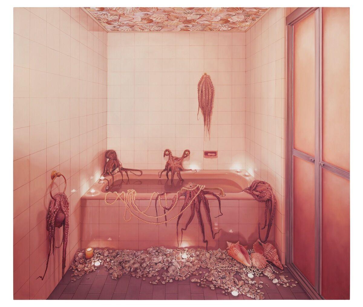 Ana Elisa Egreja, Banheiro rosa com polvos, 2017. Courtesy of Galeria Leme.