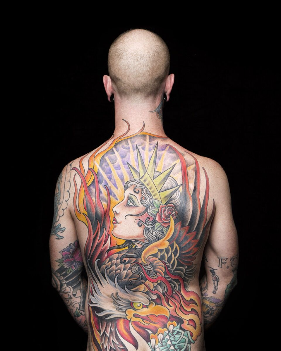 Photo by Dale May. Tattoo Art by Michelle Myles. Lady Liberty on Evan Hall,2016. © Dale May. Image courtesy of New York Historical Society.