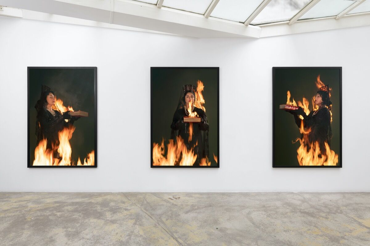 """Pilar Albarracín, installation view of """"No apagues mi fuego, déjame arder"""" at Galerie Georges-Philippe & Nathalie Vallois, 2020. Courtesy of Galerie Georges-Philippe & Nathalie Vallois."""
