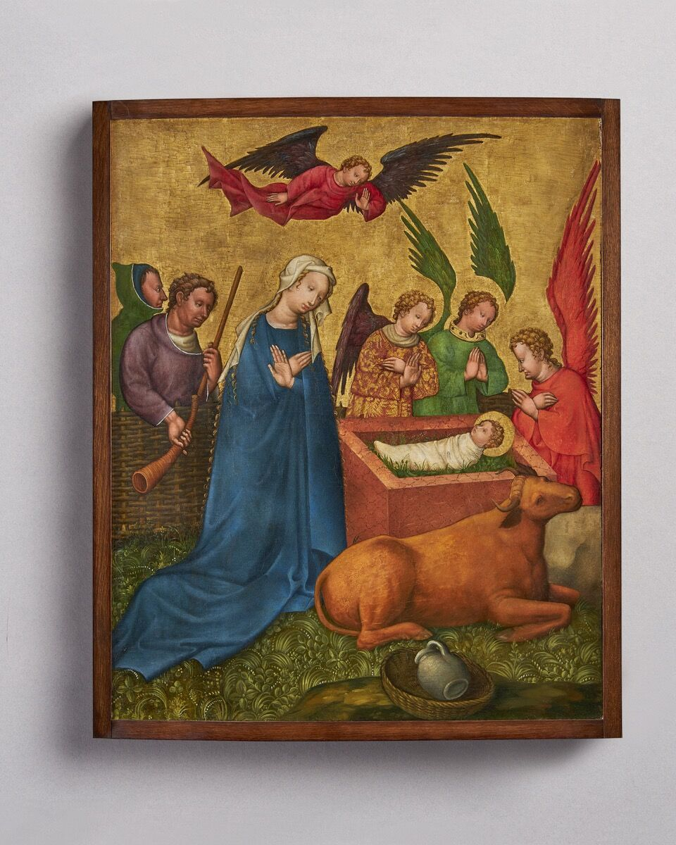 Master of the Saint Lambrecht Votive Panel, The Nativity, c. 1430. Courtesy of Luhring Augustine and Sam Fogg.