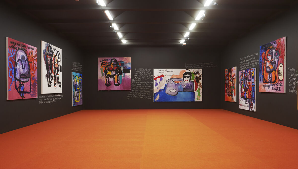"""Installation view of """"Bjarne Melgaard: Right Here, Right Now"""" at Lars Bohman Gallery, Stockholm. Courtesy of Lars Bohman Gallery."""