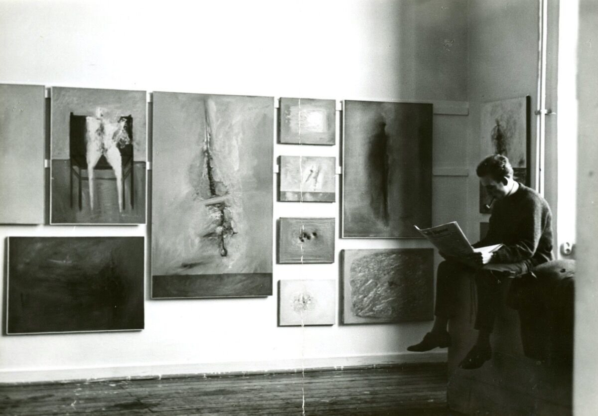 Gerhard Richter, studio wall with works by Gerhard Richter during the semester tour, February 1962. © Gerhard Richter 2020. Photo by Gerhard Richter. Courtesy of the artist and the Staatliche Kunstsammlungen Dresden.