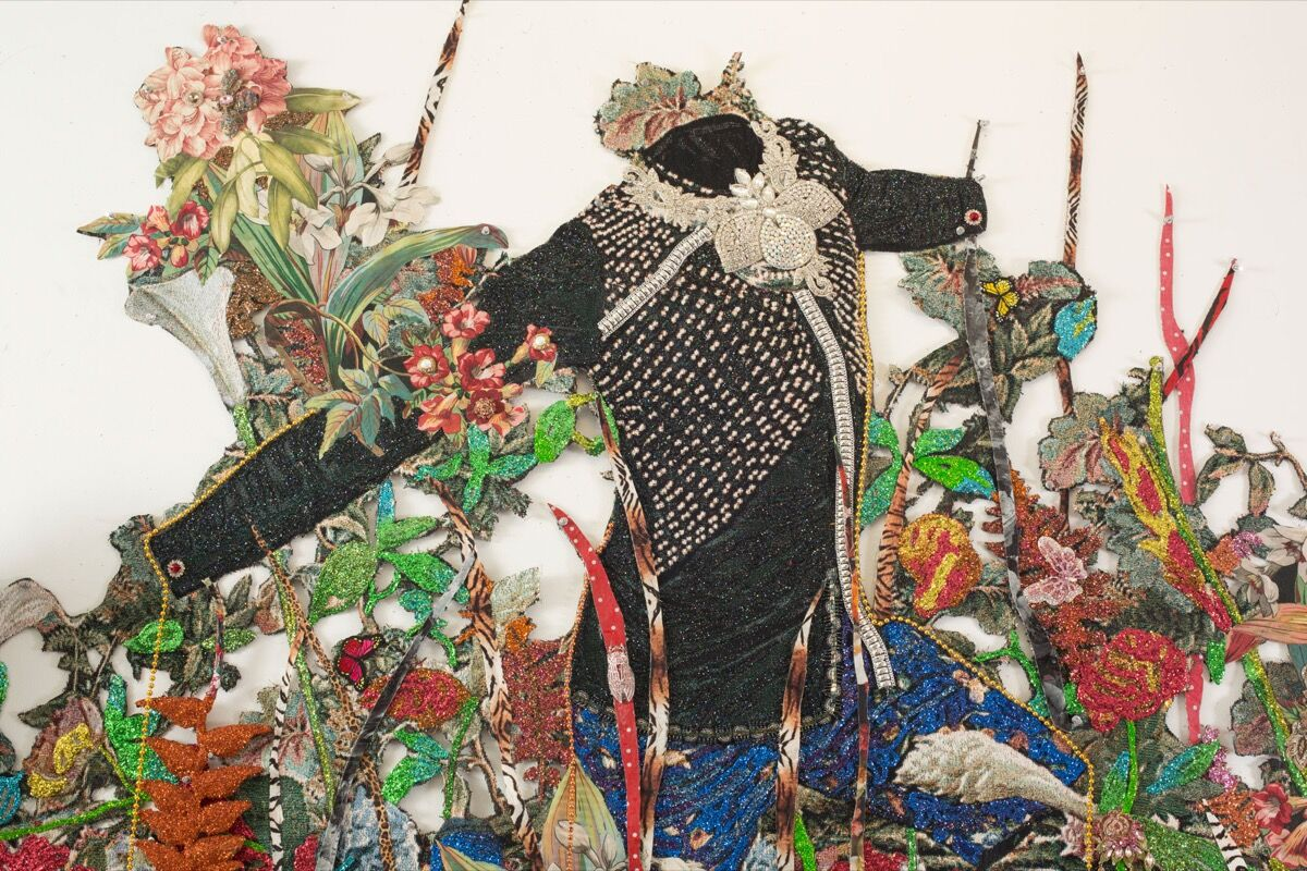 Ebony G. Patterson, ...a wailing black horse...for those who bear/bare witness (detail), 2018. Courtesy of the artist and Monique Meloche Gallery, Chicago.